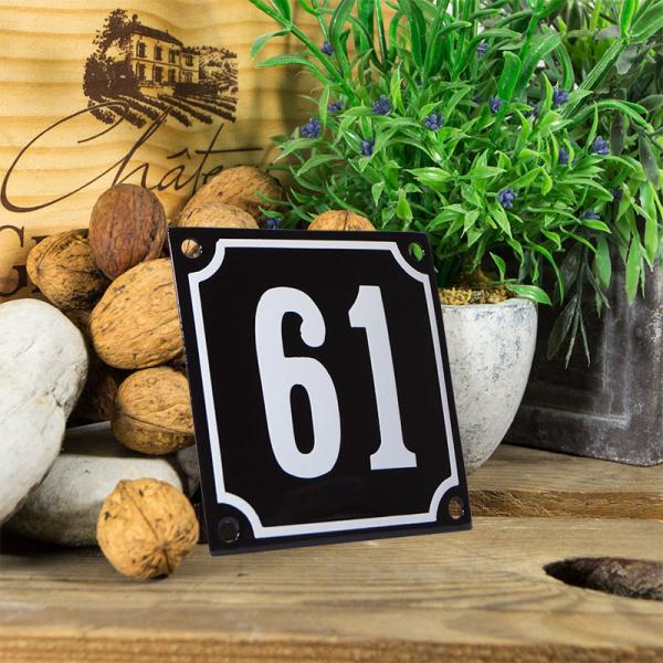 Emaille huisnummerbord 'zwart' klein nummer 61