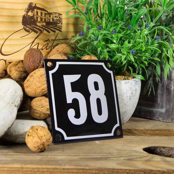 Emaille huisnummerbord 'zwart' klein nummer 58
