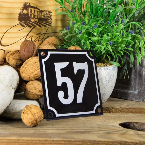Emaille huisnummerbord 'zwart' klein nummer 57
