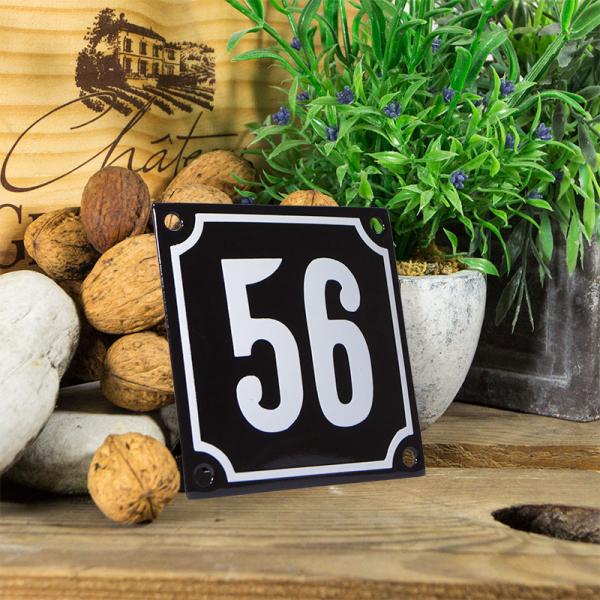 Emaille huisnummerbord 'zwart' klein nummer 56