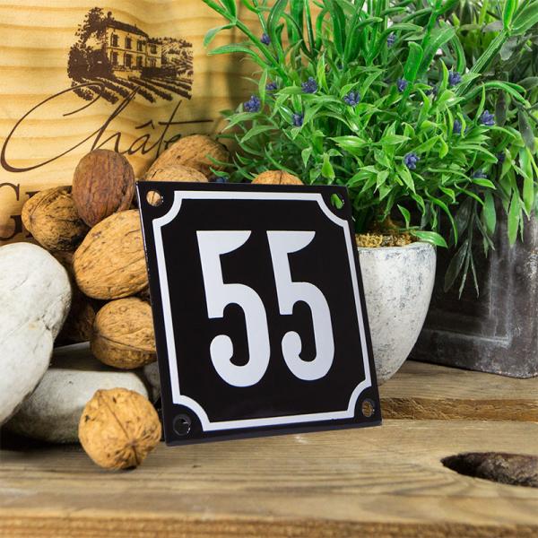 Emaille huisnummerbord 'zwart' klein nummer 55