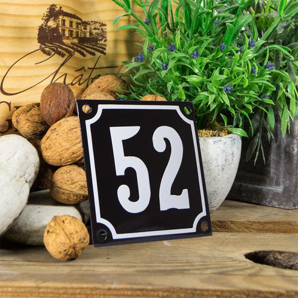 Emaille huisnummerbord 'zwart' klein nummer 52