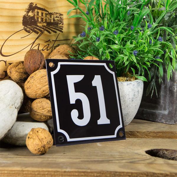 Emaille huisnummerbord 'zwart' klein nummer 51