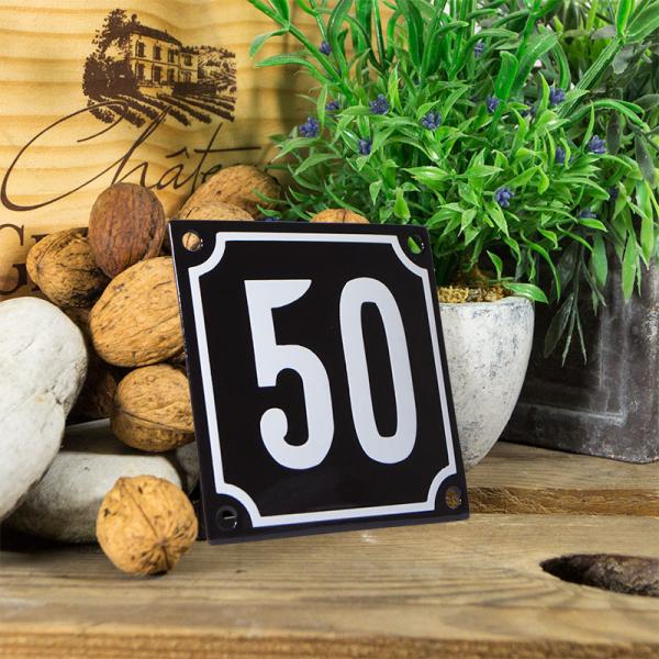 Emaille huisnummerbord 'zwart' klein nummer 50