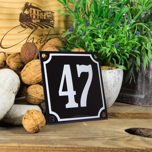 Emaille huisnummerbord 'zwart' klein nummer 47