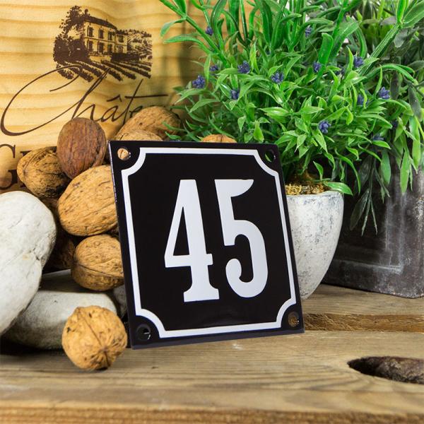 Emaille huisnummerbord 'zwart' klein nummer 45