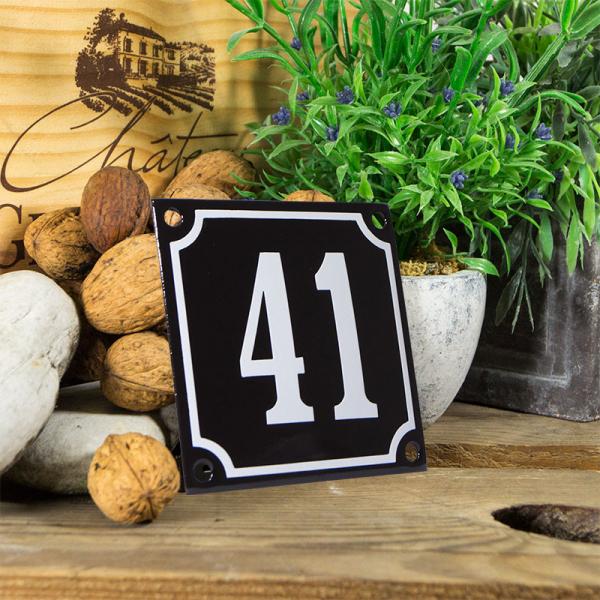 Emaille huisnummerbord 'zwart' klein nummer 41