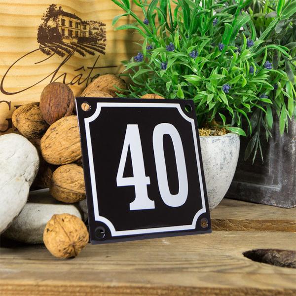 Emaille huisnummerbord 'zwart' klein nummer 40
