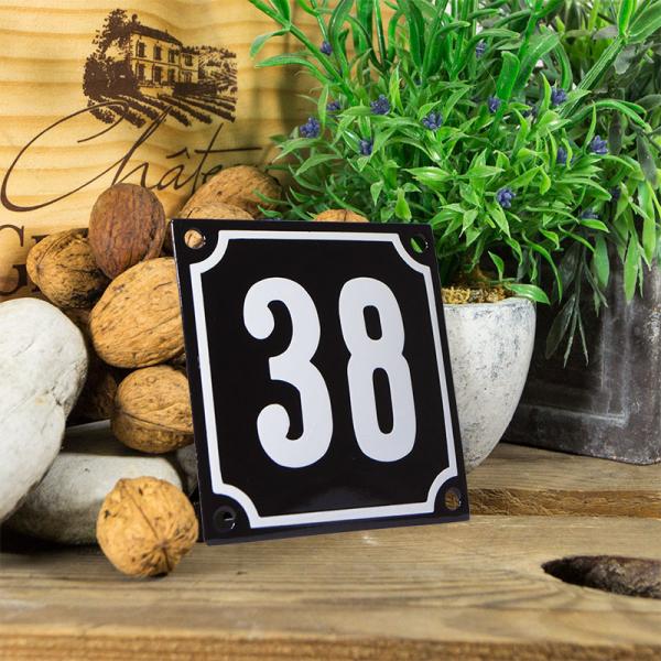 Emaille huisnummerbord 'zwart' klein nummer 38