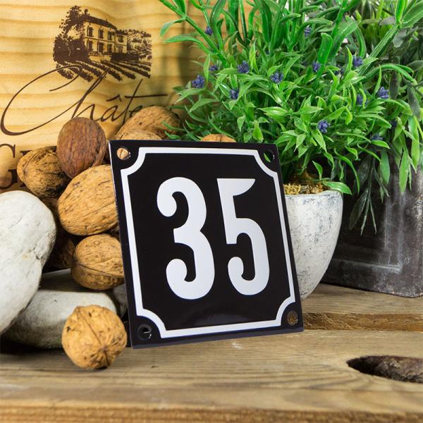 Emaille huisnummerbord 'zwart' klein nummer 35