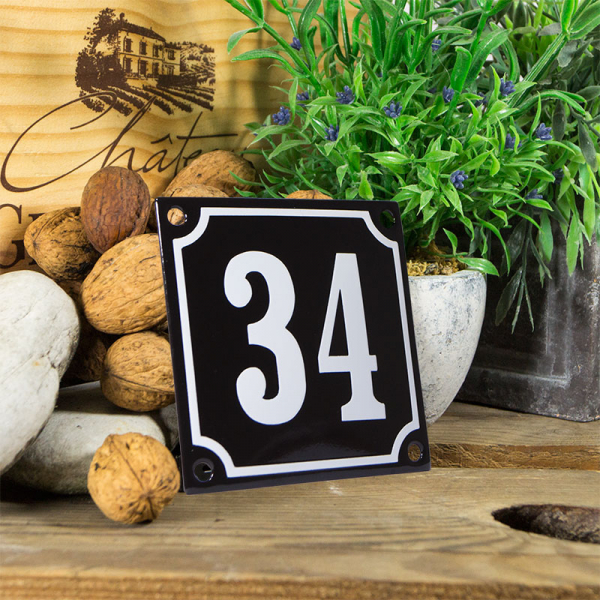 Emaille huisnummerbord 'zwart' klein nummer 34