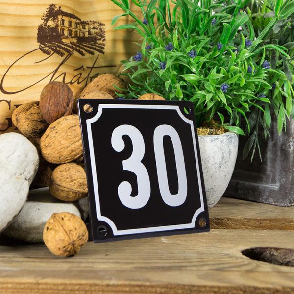 Emaille huisnummerbord 'zwart' klein nummer 30