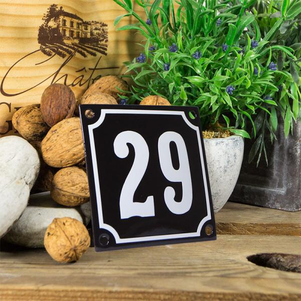Emaille huisnummerbord 'zwart' klein nummer 29