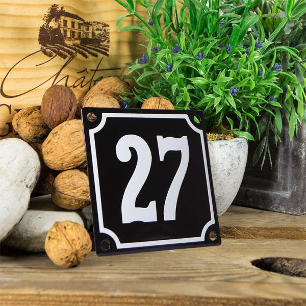 Emaille huisnummerbord 'zwart' klein nummer 27