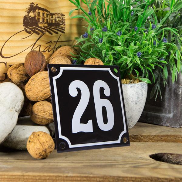 Emaille huisnummerbord 'zwart' klein nummer 26