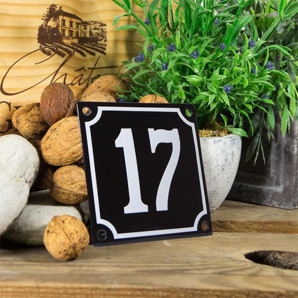 Emaille huisnummerbord 'zwart' klein nummer 17