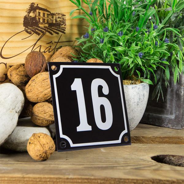 Emaille huisnummerbord 'zwart' klein nummer 16
