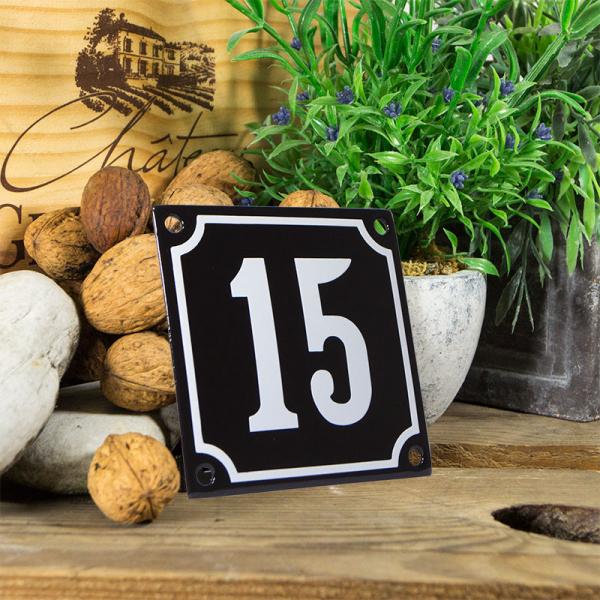 Emaille huisnummerbord 'zwart' klein nummer 15