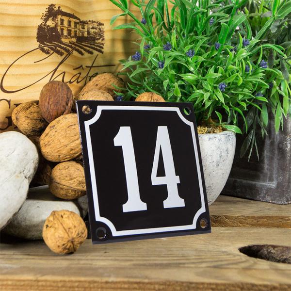 Emaille huisnummerbord 'zwart' klein nummer 14