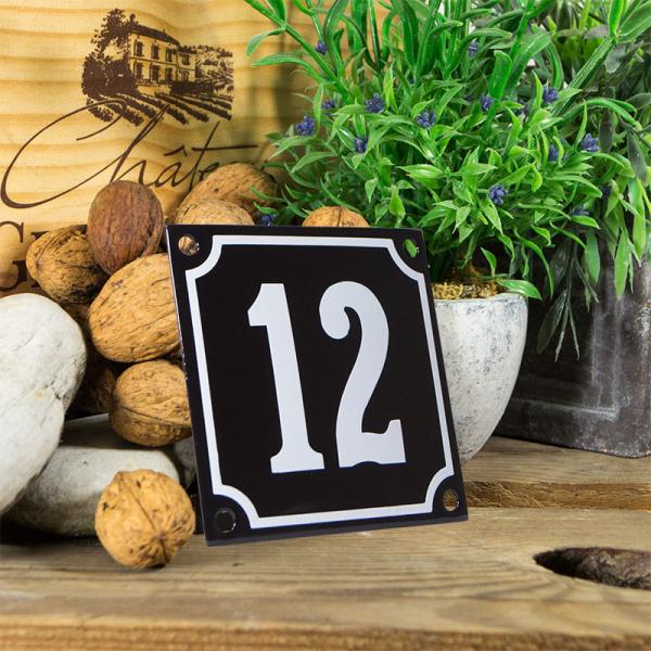 Emaille huisnummerbord 'zwart' klein nummer 12
