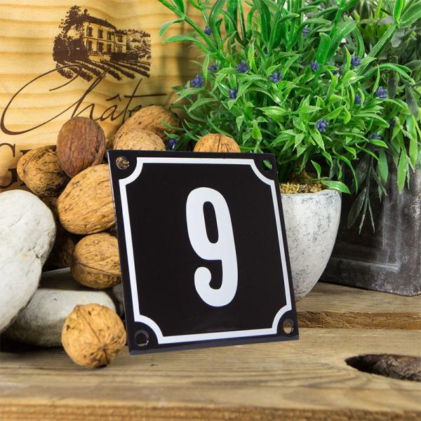 Emaille huisnummerbord 'zwart' klein nummer 9