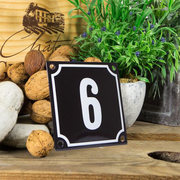 Emaille huisnummerbord 'zwart' klein nummer 6