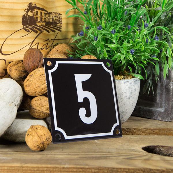 Emaille huisnummerbord 'zwart' klein nummer 5