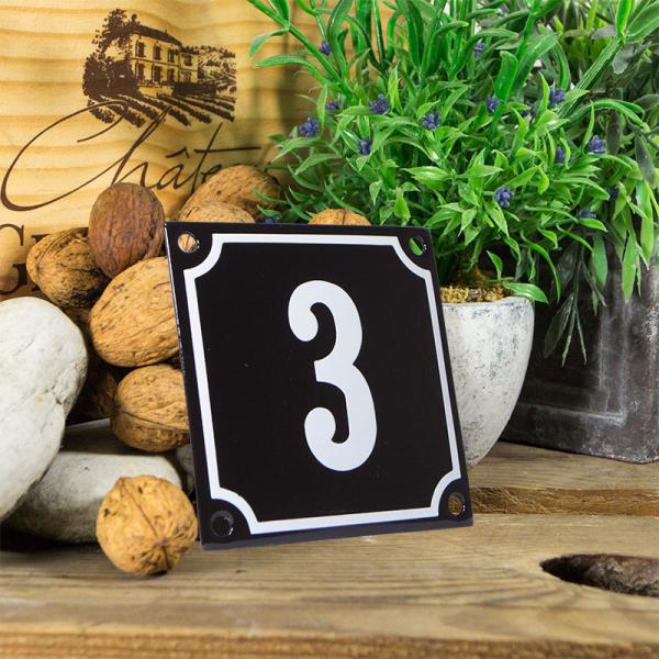 Emaille huisnummerbord 'zwart' klein nummer 3