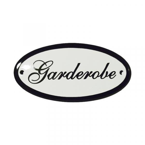 Emaille deurbordje met de tekst 'Garderobe'