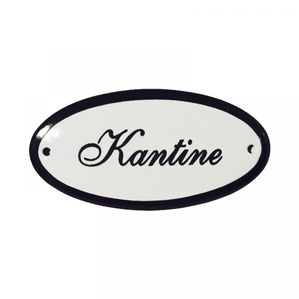 Emaille deurbordje met de tekst 'Kantine'.