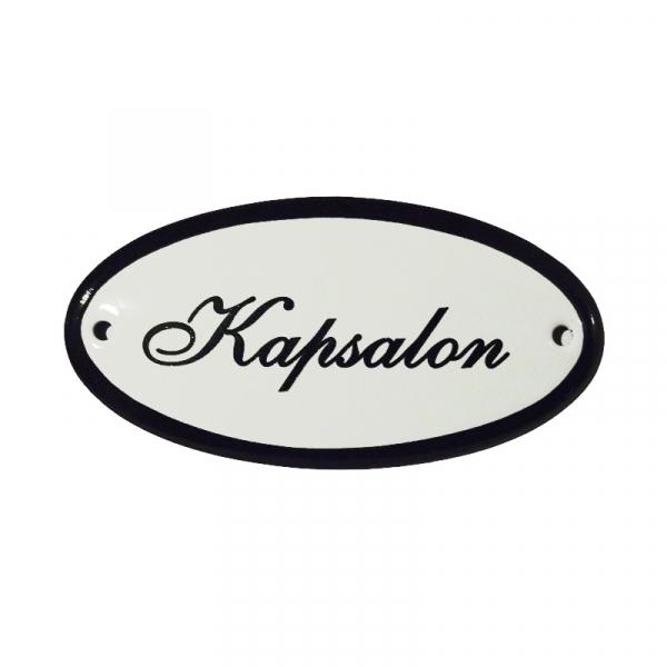 Emaille deurbordje met de tekst 'Kapsalon'.