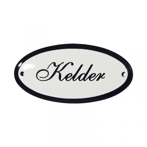 Emaille deurbordje met de tekst 'Kelder'.