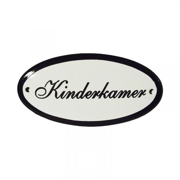 Emaille deurbordje met de tekst 'Kinderkamer'.
