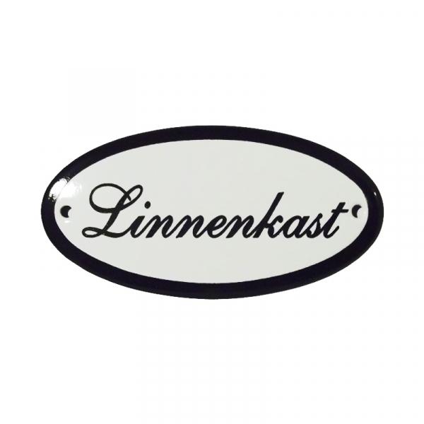 Emaille deurbordje met de tekst 'Linnenkast'.