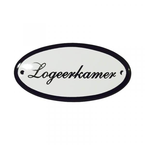 Emaille deurbordje met de tekst 'Logeerkamer'.