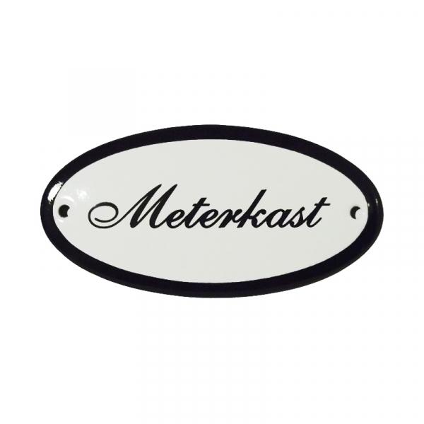 Emaille deurbordje met de tekst 'Meterkast'.