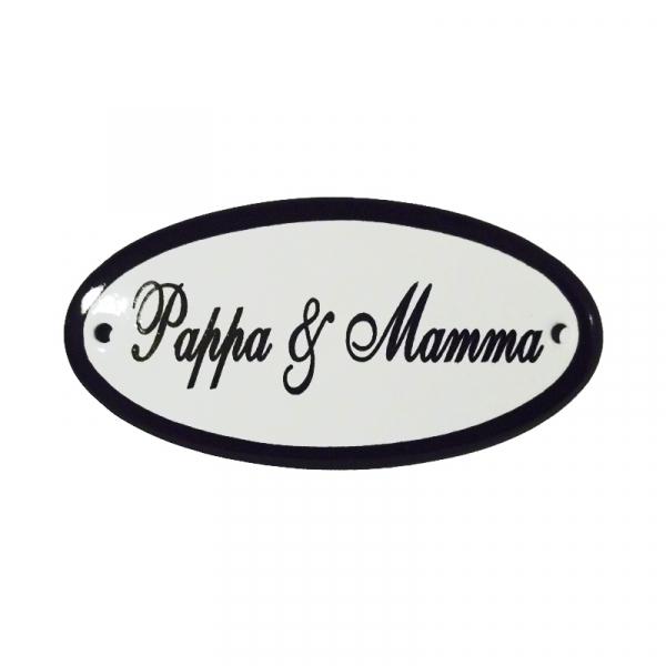 Emaille deurbordje met de tekst 'Pappa & Mamma'.