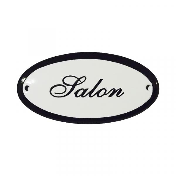 Emaille deurbordje met de tekst 'Salon'.