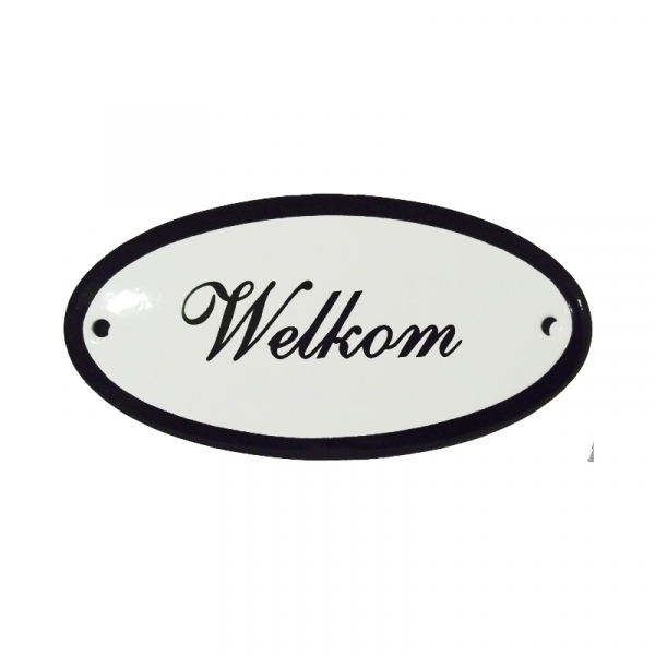 Emaille deurbordje met de tekst 'Welkom'.