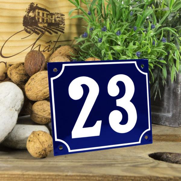 Huisnummerbord groot blauw nummer 23