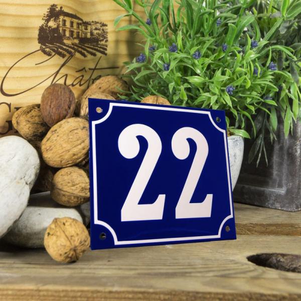 Huisnummerbord groot blauw nummer 22