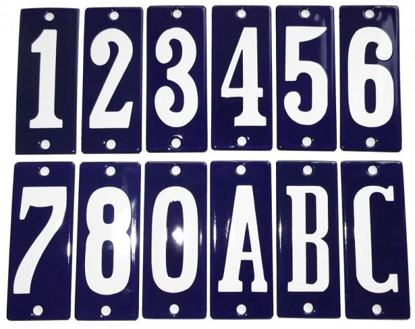 Huisnummerbord 'smal' blauw