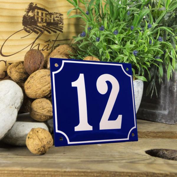Huisnummerbord groot blauw nummer 12