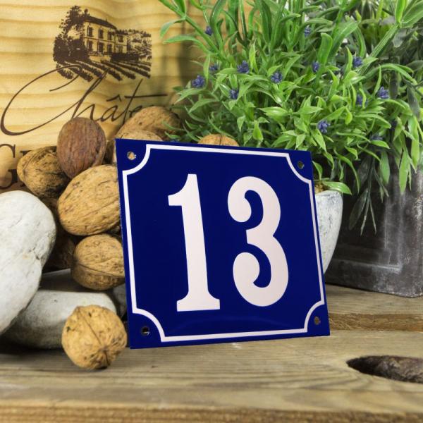 Huisnummerbord groot blauw nummer 13
