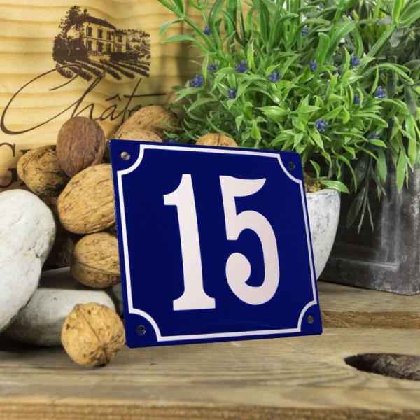 Huisnummerbord groot blauw nummer 15