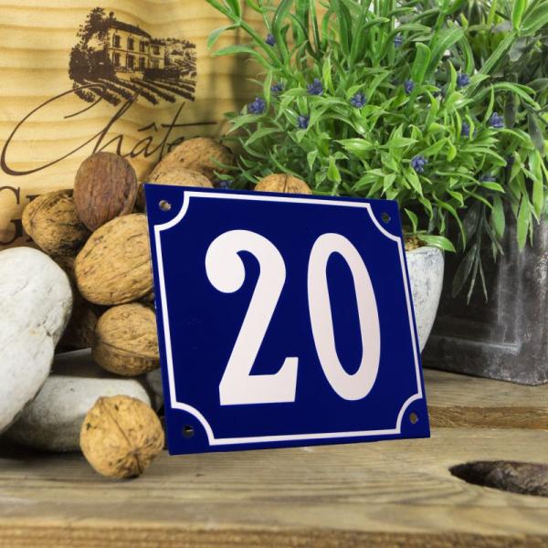Huisnummerbord groot blauw nummer 20