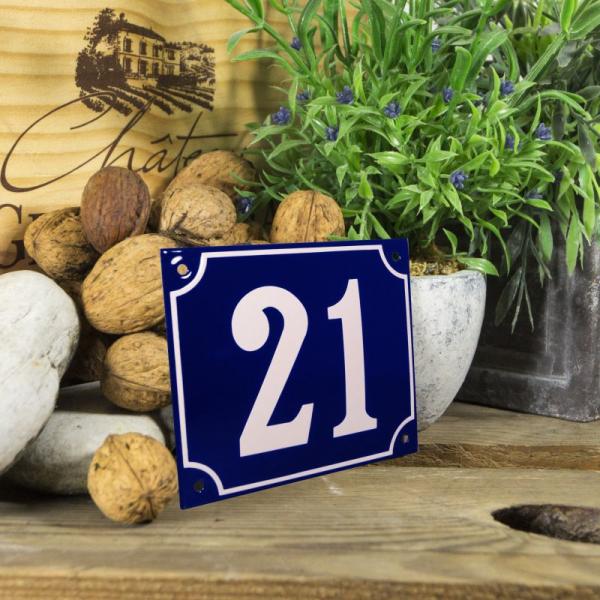 Huisnummerbord groot blauw nummer 21