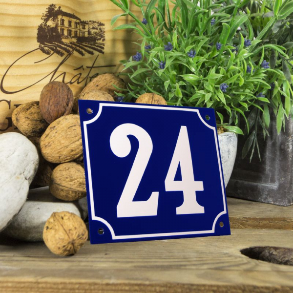 Huisnummerbord groot blauw nummer 24
