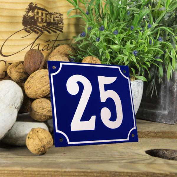 Huisnummerbord groot blauw nummer 25