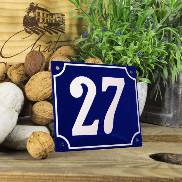 Huisnummerbord groot blauw nummer 27